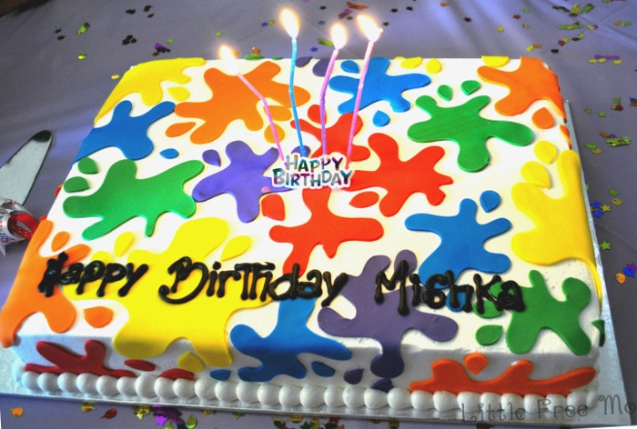 Artist birthday party - paint party cake - Little Free Monkeys
