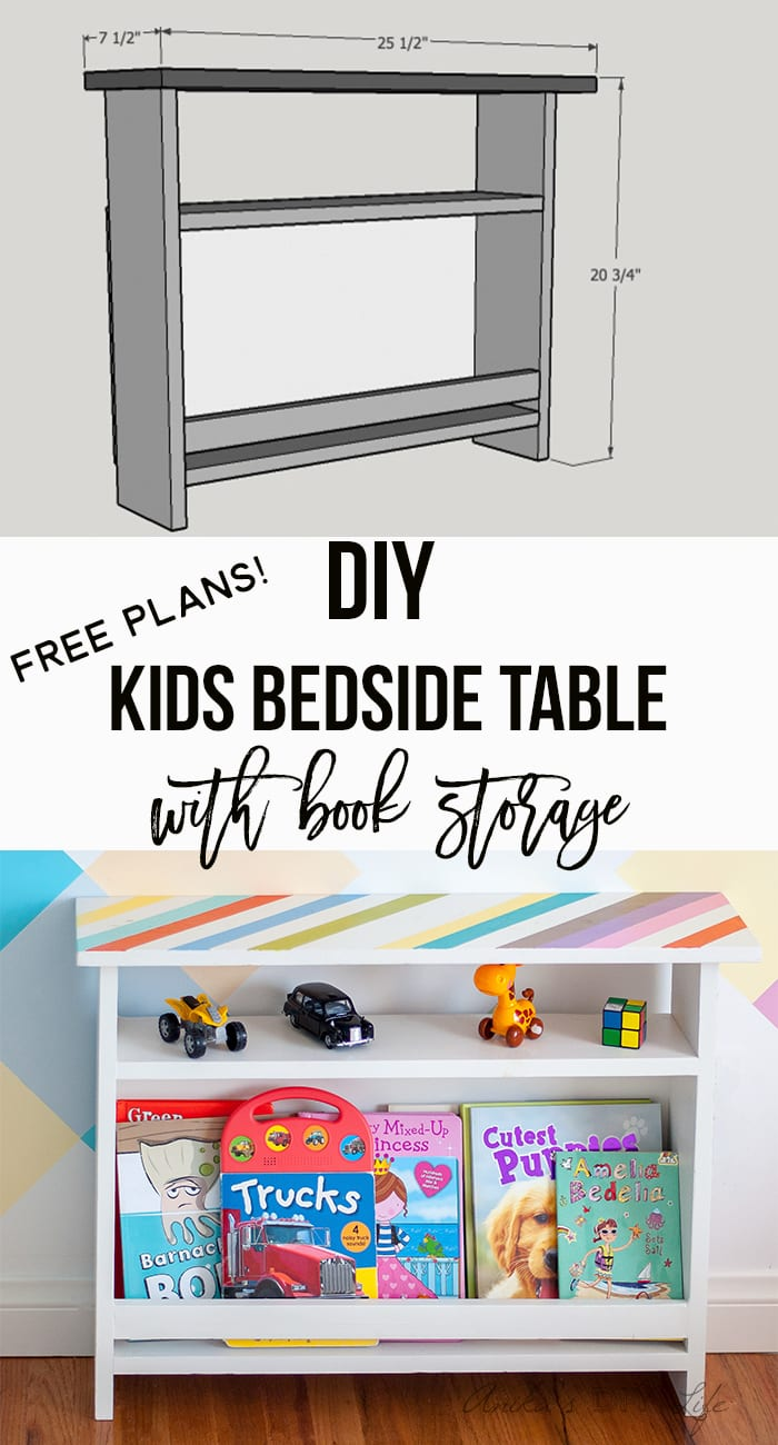 Love this functional kids storage idea! DIY Kids bedside table with book storage | Free plans #woodworking #DIYFurniture #Kidsfurniture #kidsroomdecor