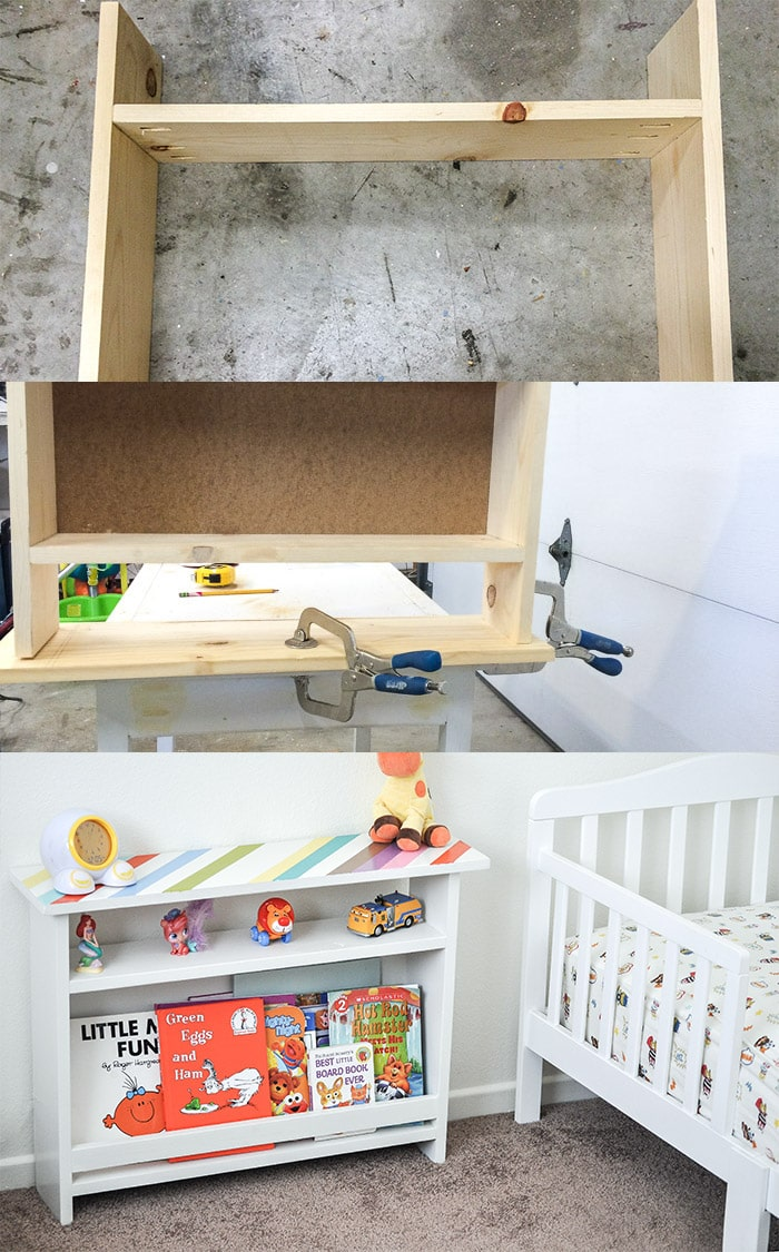 This is such a fun build! So functional! DIY Kids bedside table with book storage | Free plans #woodworking #DIYFurniture #Kidsfurniture #kidsroomdecor