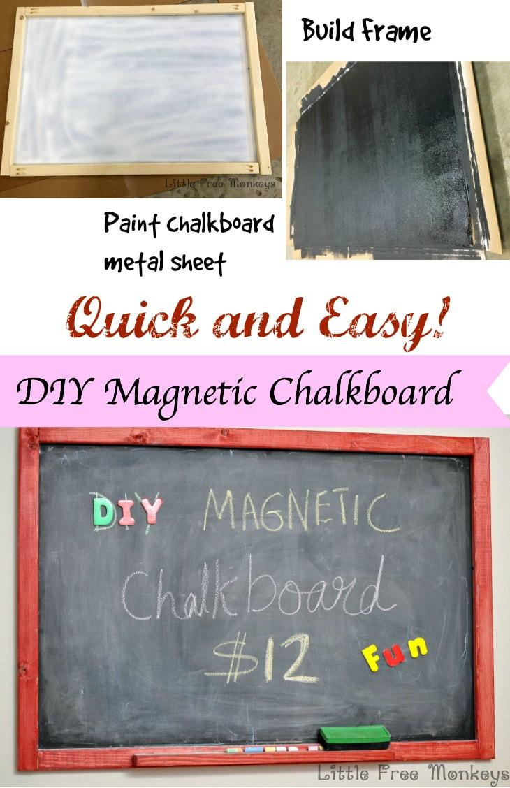 DIY Magnetic Chalkboard - Little Free Monkeys