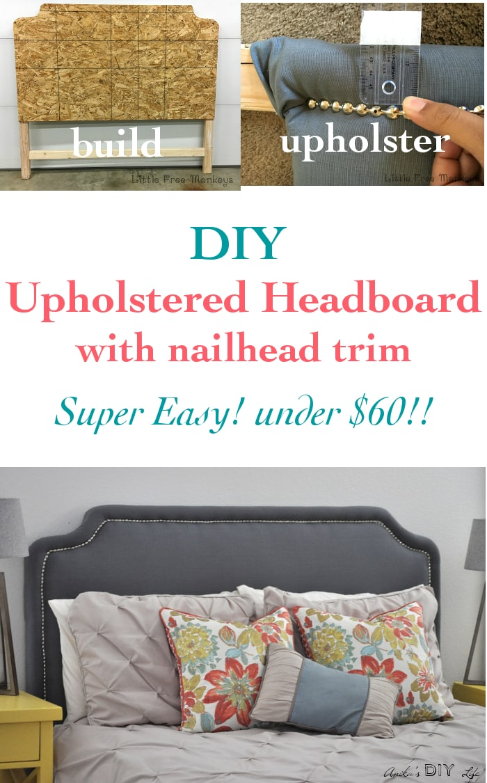 I can't beileve home easy it is to make this DIY upholstered headboard with nailhead trim! what a power impact in the bedroom!