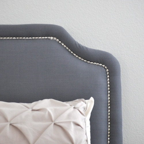 Easy DIY Upholstered Headboard with Nailhead Trim