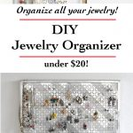 Wow! This DIY Jewelry organizer has everything I need! I can hang my necklaces, earrings, bracelets. And it looks like wall art too!