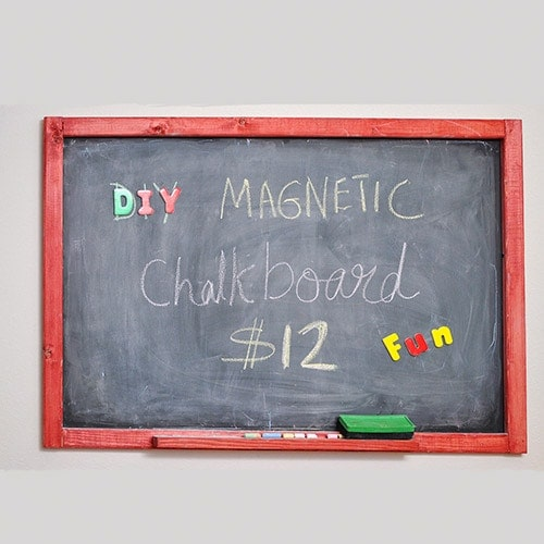 Learn how to make an easy DIY Magnetic Chalkboard in under $12 with this detailed tutorial. It makes a great addition to any office or playroom!