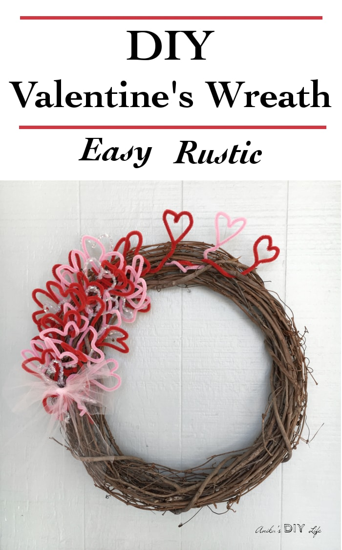 This is such a cute and easy DIY Valentine's Wreath! It is so beautiful with its rustic charm. Its a great kids valentine's craft too!