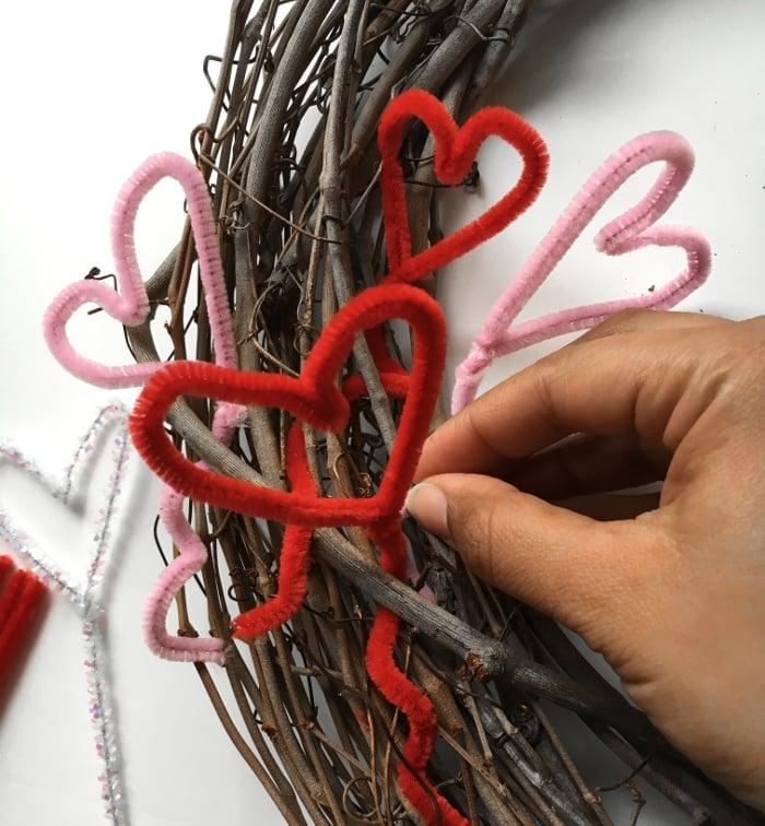 Make an easy DIY Valentin'e wreath for under $5!