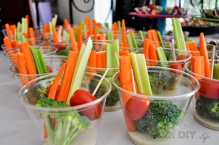 Veggies with ranch - fun way to serve at a birthday party | Paint party food idea