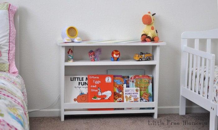 DIY Kids bedside table with book storage - Little Free Monkeys