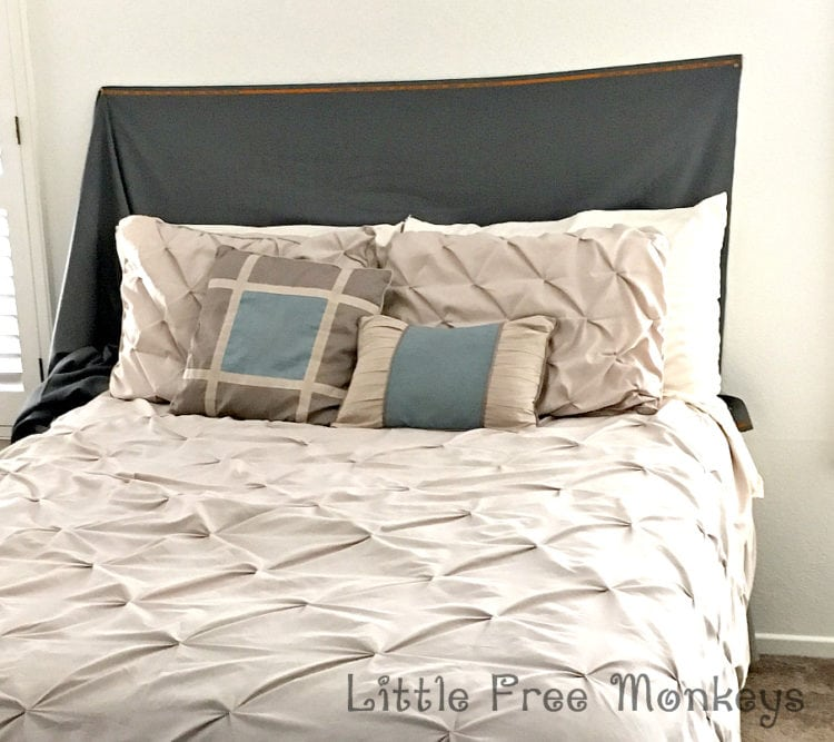 Trial for DIY Upholstered headboard with nailhead trim