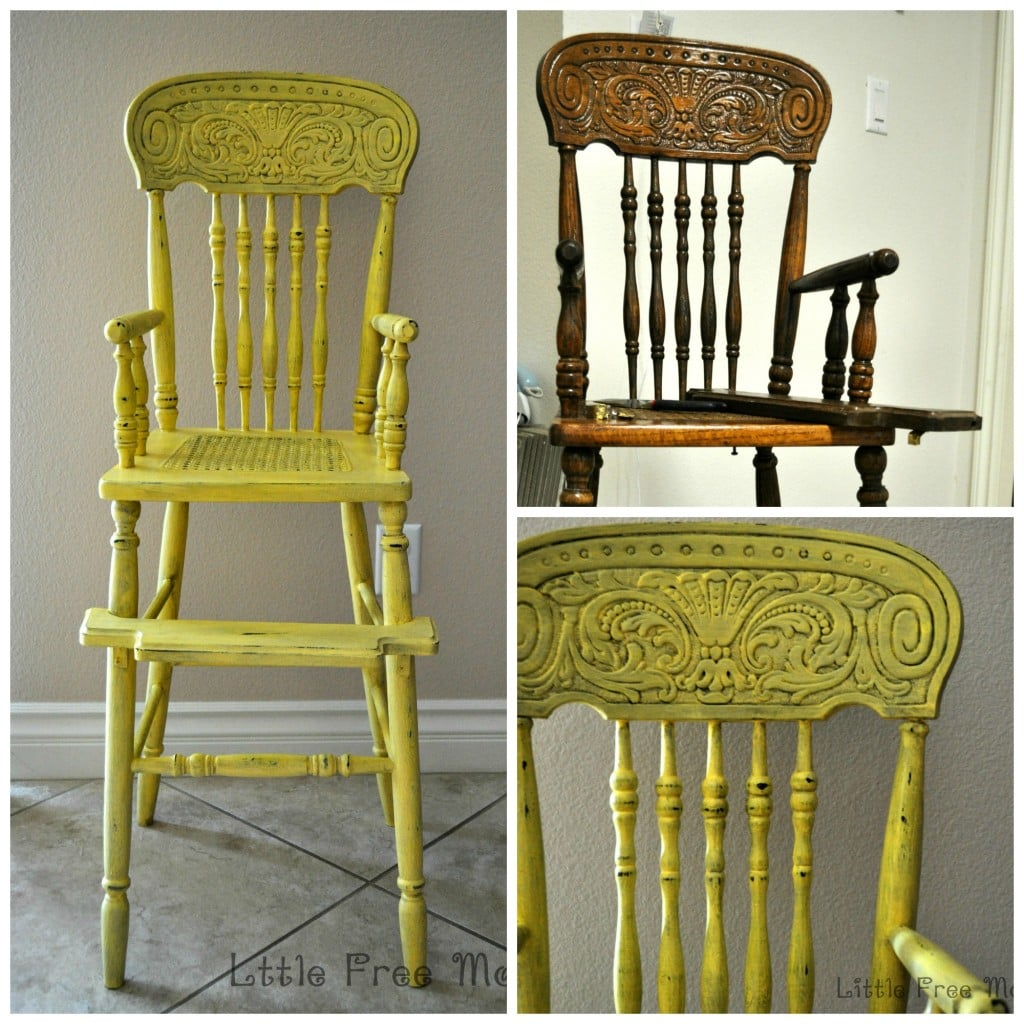 yellow high chair before and after - Antique Highchair Makeover - Pretty And Bright! - Anika's DIY Life