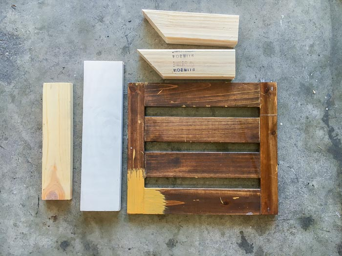 scrap wood and old shelf to build the desk organizer