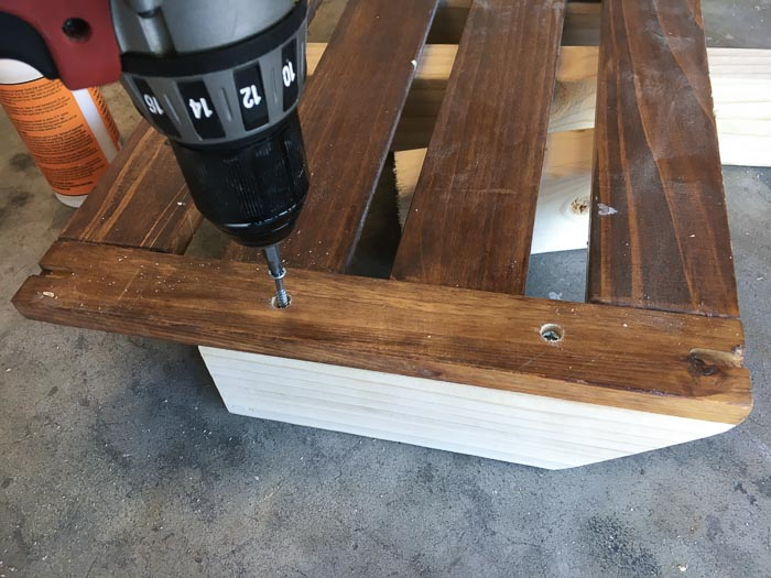Attaching 2x3 from the back with countersunk screws to build the diy desk organizer