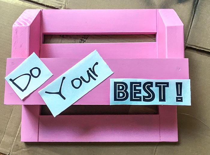 Transferring letters onto the DIY desk organizer