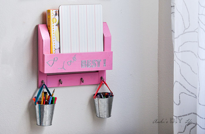 DIY Desk organizer with paper and buckets of pens and supplies