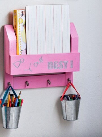 Keep all the papers and desk supplies organized with this DIY Desk Organizer. Make a homework station with wood using this step by step tutorial.