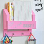 DIY desk organizer on wall with text overlay