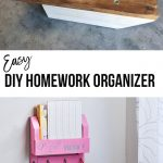 DIY desk organizer collage with text overlay