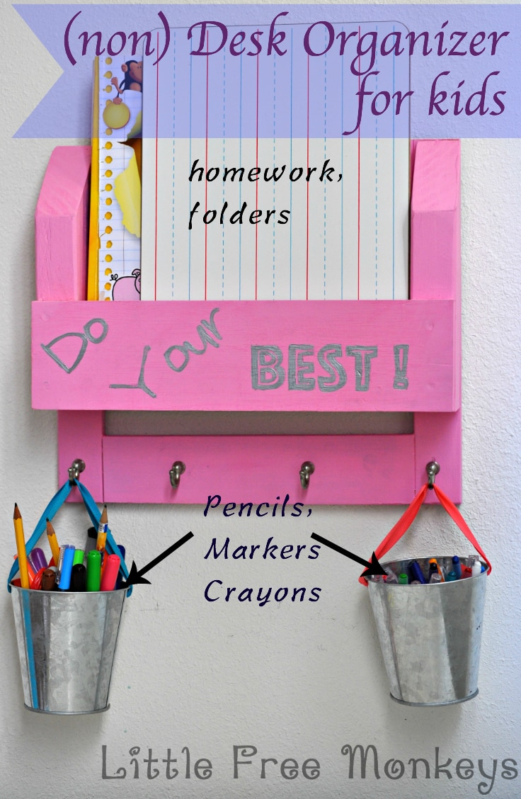 Diy kids bedside table with book storage little free monkeys - Desk organizers for kids ...