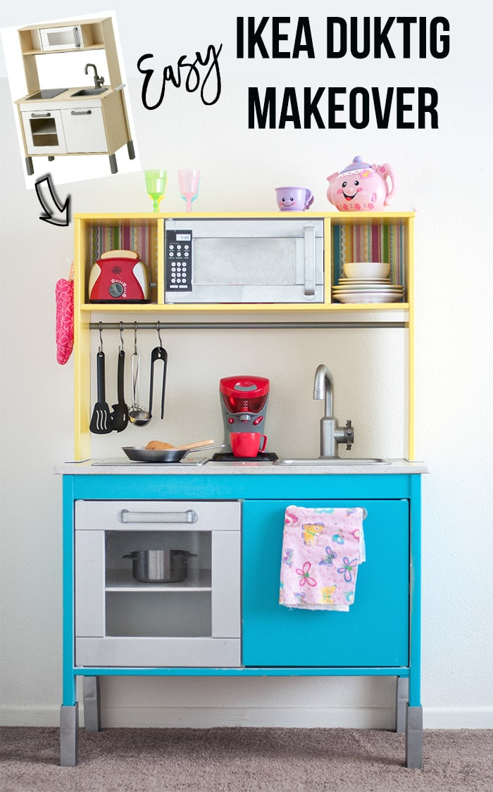 Love this!! Easy and simple colorful Children's Ikea Duktig play kitchen makeover or hack! # Ikeahacks #Kidsdecor