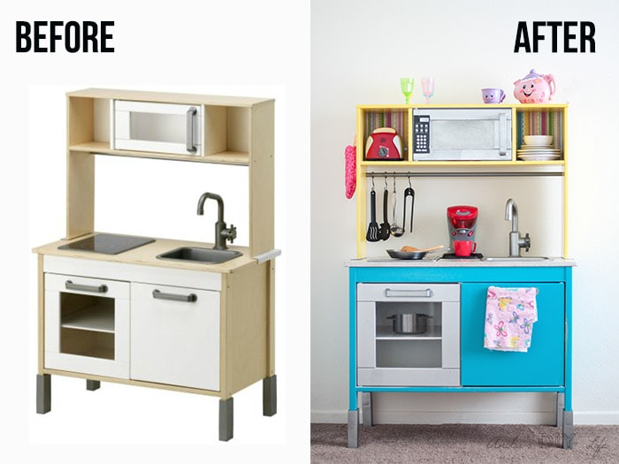 This Ikea Duktig Kitchen Hack Takes The Plain And Transforms It Into A Fun Colorful Kids Play With Just Bit Of Paint Paper