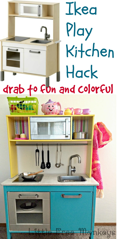 Ikea Duktig Play Kitchen Makeover - Little Free Monkeys
