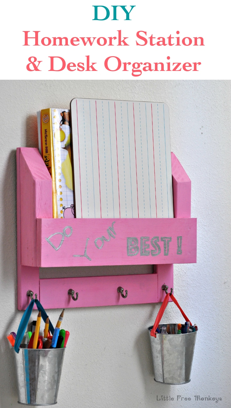 Easy DIY homework station and desk organizer for kids using wood scraps. Full step by step tutorial.