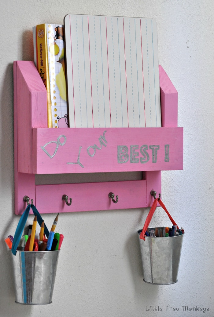 Make this easy homework station and desk organizer using wood scraps with this step by step tutorial