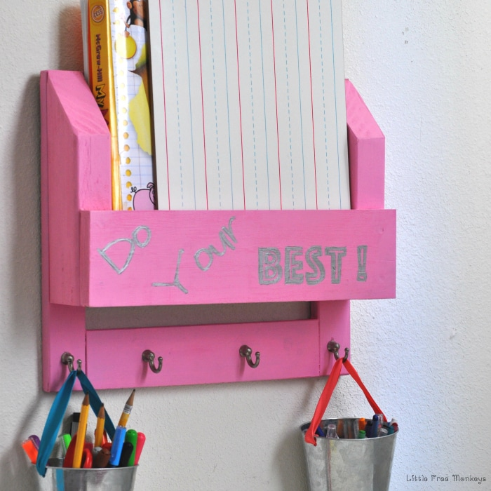 Make this easy homework station and desk organizer using wood scraps with this step by step tutorial. Made from wood scraps!