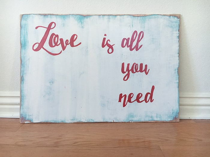 Easy distressed Valentine's Day Puzzle wall art | Love wall art | Love is all you need