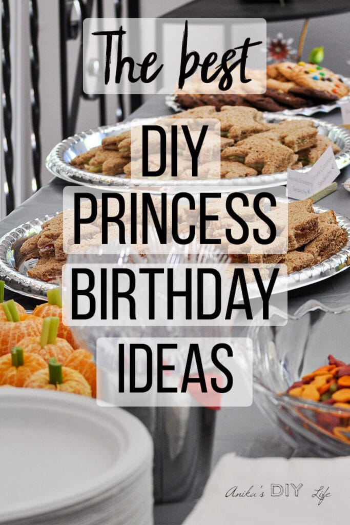 DIY Princess birthday party food ideas with text overlay