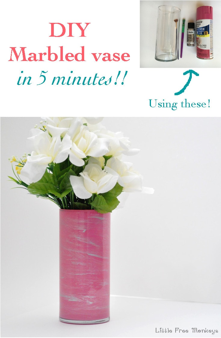 An easy DIY marbled vase made in 5 minutes! And it is water proof! Super easy dollar store craft!