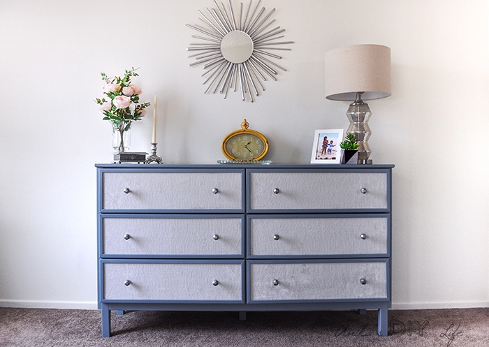 Easy Fabric paneled textured dresser | Ikea Tarva dresser makeover