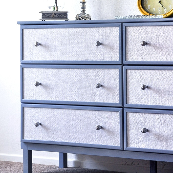 Textured Fabric Paneled dresser – Ikea Tarva makeover