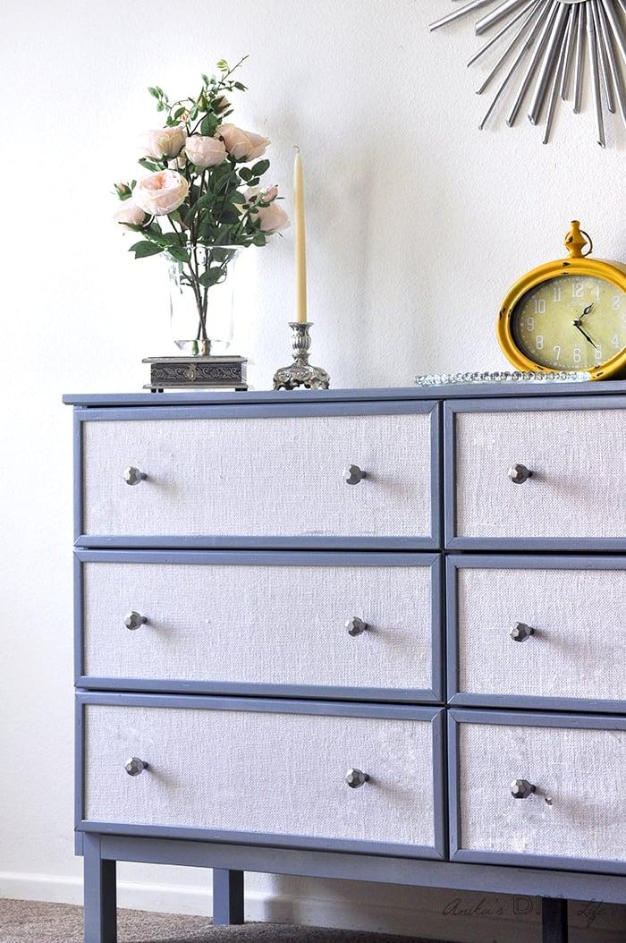 Fabric upholstered dresser - Ikea Tarva dresser makeover.