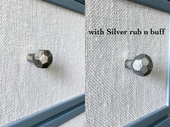 Add special shine to dark knobs using Silver rub n buff
