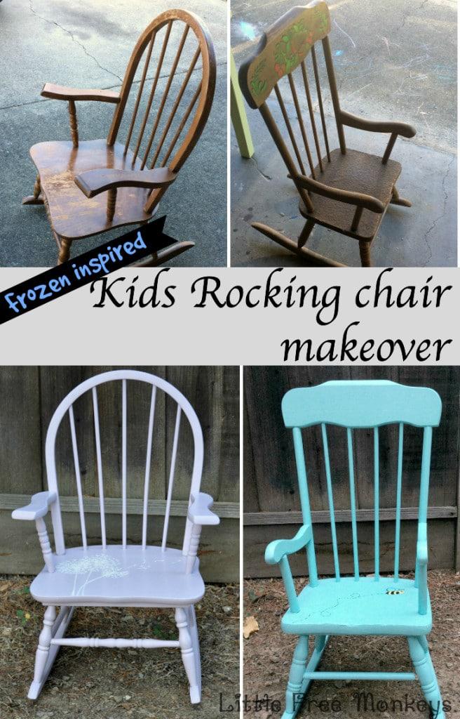 Frozen inspired kids rocking chair makeover