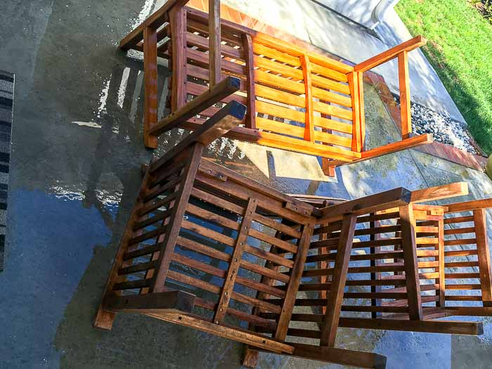 Wet Upside down patio furniture after being washed and cleaned