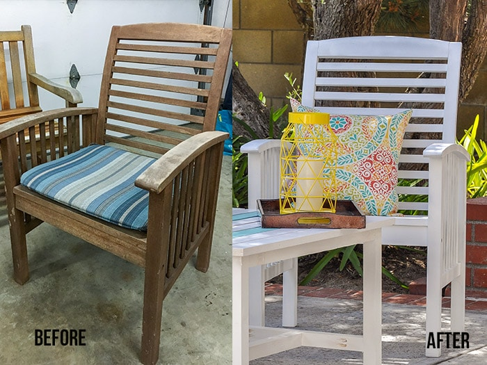 before and after comparison of painted outdoor wood chair