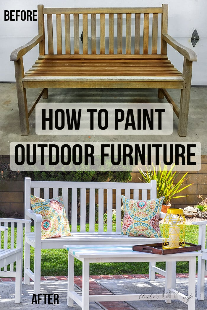 COllage of before and after of painting outdoor wood furniture with text overlay