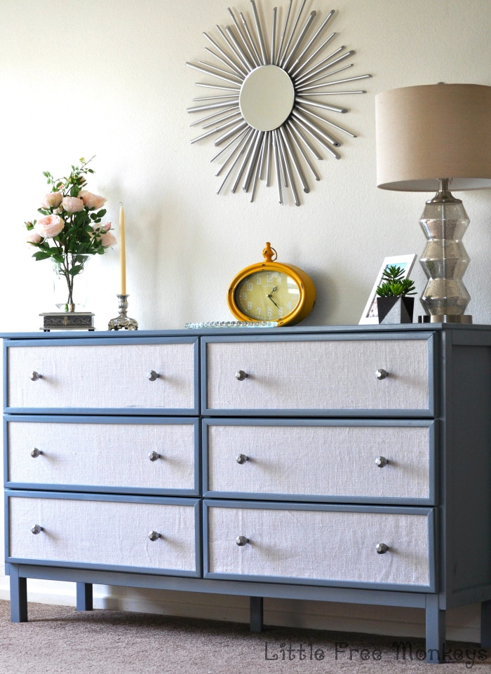 Fabric Paneled Ikea Tarva Dresser hack - Little Free Monkeys