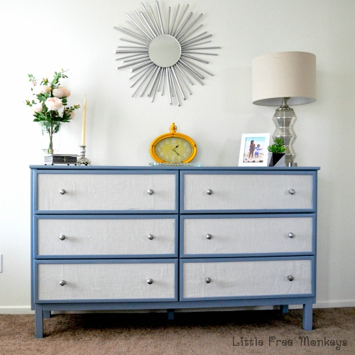 Fabric Paneled Ikea Tarve Dresser hack - Little Free Monkeys