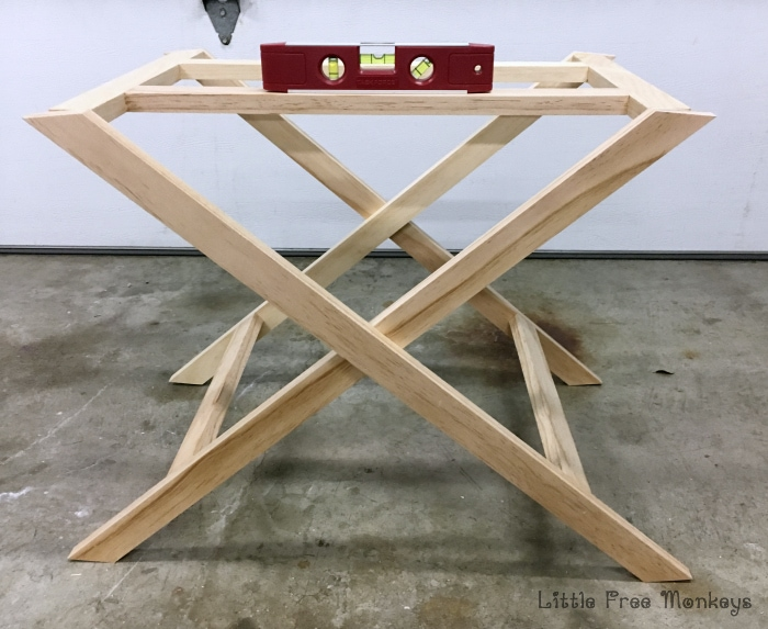 x-leg nightstand base assembly leveling