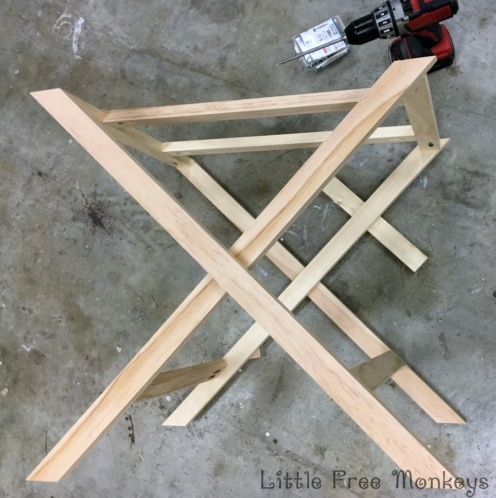 x-leg nightstand base legs assembly