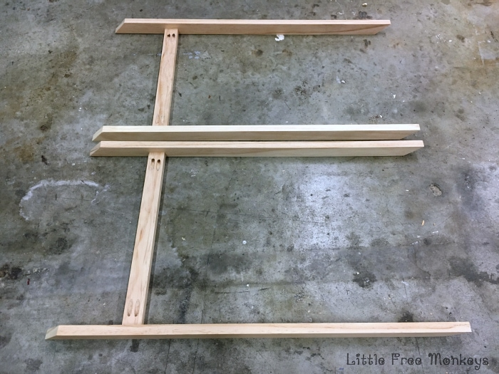 x-leg nightstand legs assembly