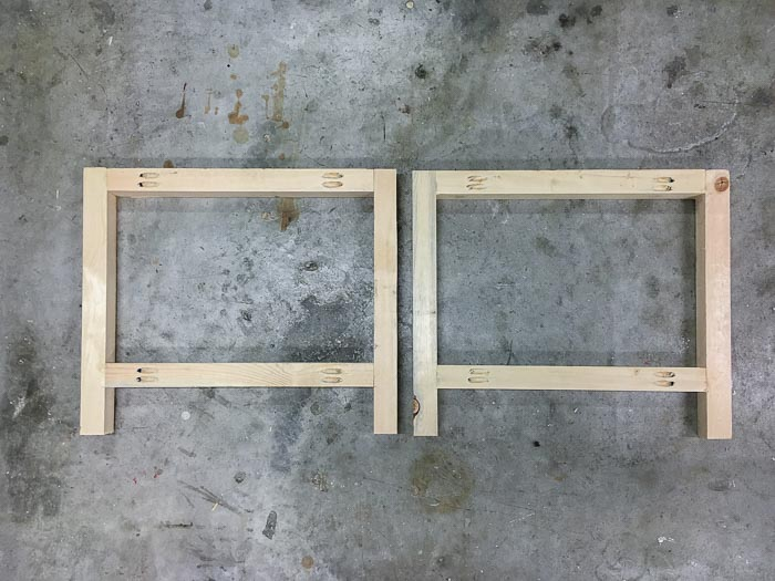 Building the side frames of the DIY outdoor coffee table