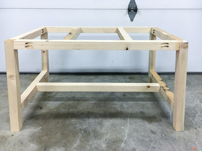 frame of outdoor coffee table ready to be painted.