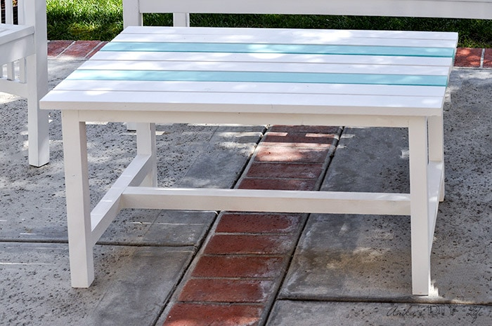 Close up of DIY coffee table on patio