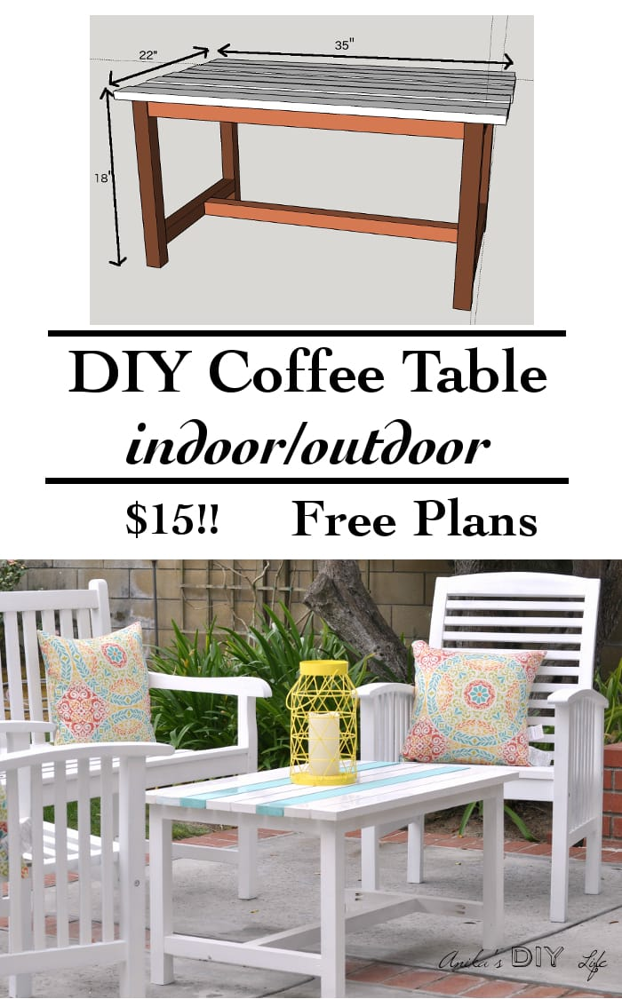 Excellent beginner woodworking project. Build your own indoor/outdoor coffee table for under $15.