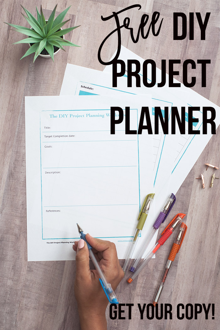 DIY Project planning printable on brown table with text overlay