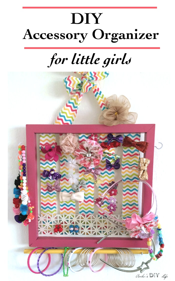 Wow! This little girls accessory organizer holds everything - the hair bows, hairbands, necklaces, bracelets and earrings! This is a great tutorial! It is the only accessory organizer you will ever need!
